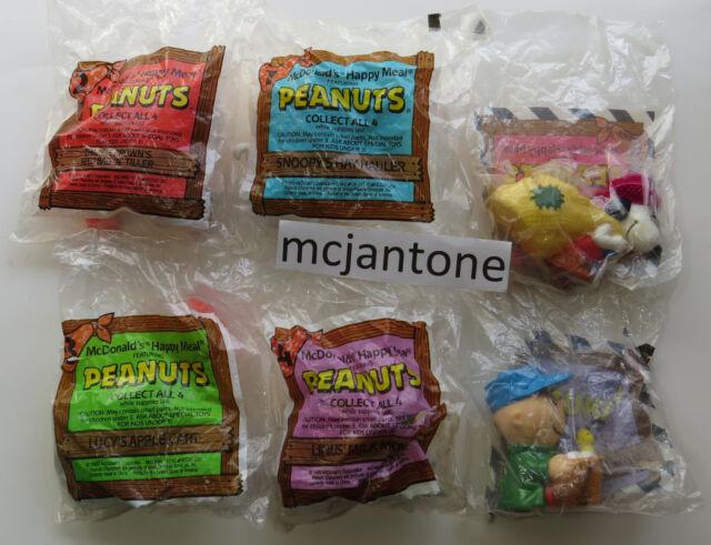 MIP SET 4+2 U-3 McDonald's 1990 PEANUTS Charlie Brown FARM TOYS Snoopy COMPLETE