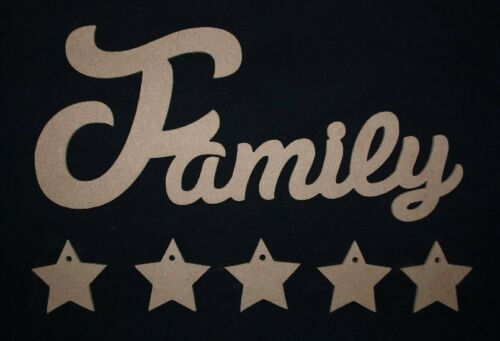Unpainted MDF Plaque Family Wooden Script Words Decorative Letters Sign Mobile