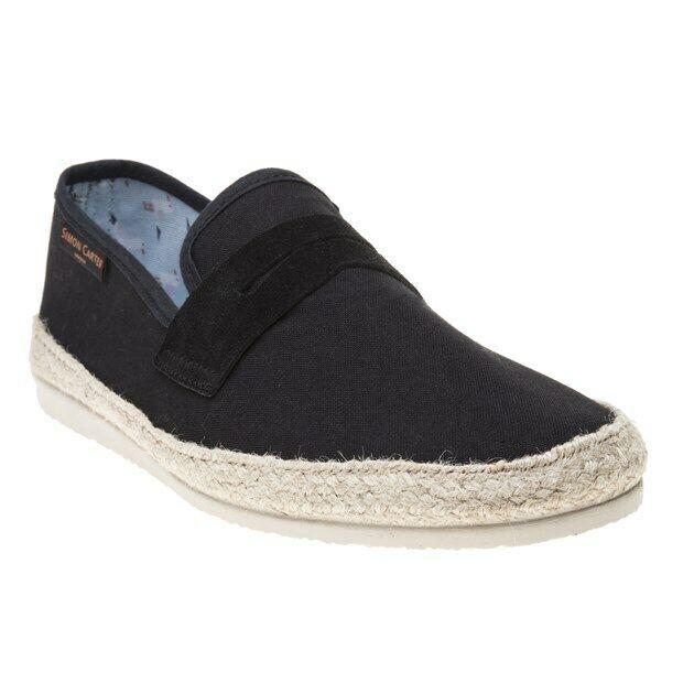 à Condition De Nouveau Homme Simon Carter Noir Slocum Toile Chaussures Espadrilles À Enfiler Style à La Mode;