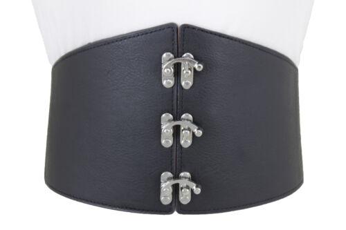 Women Wide Black Faux Leather Corset Belt Silver Metal Hook Buckle Plus L XL XXL