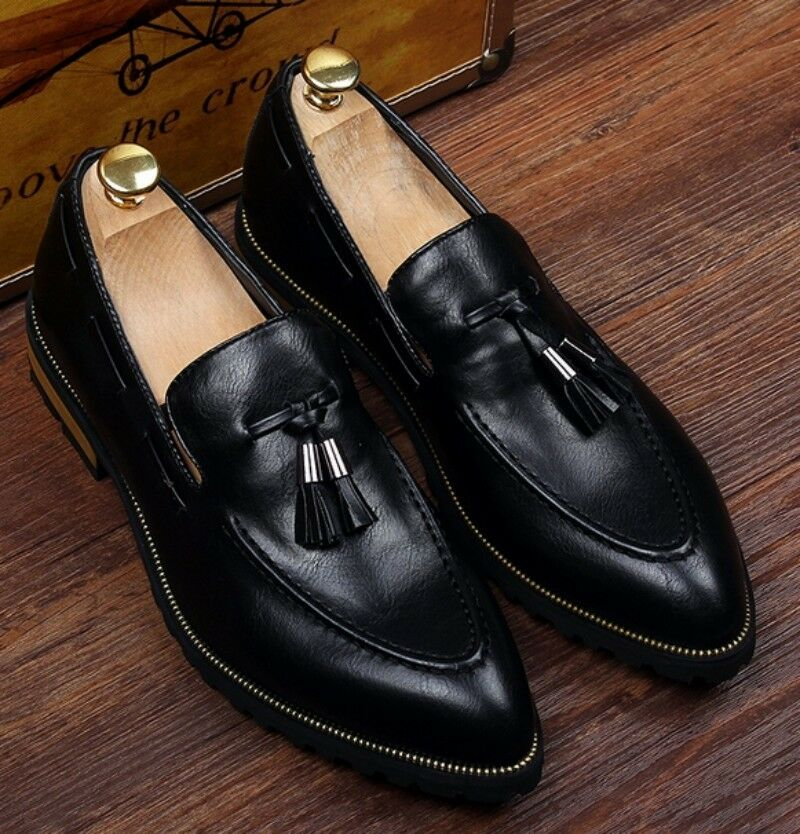 Mens faux leather pull on pointed toe loafers formal business dress shoes fringe
