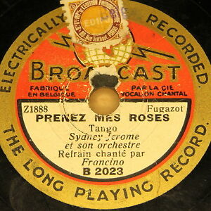 SYDNEY-JEROME-with-Orch-034-Prenez-mes-Roses-034-BROADCAST-78rpm-20cm