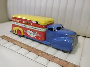 1940s-MARX-Hi-Way-Express-Pressed-Steel-Lithographed-Toy-blue