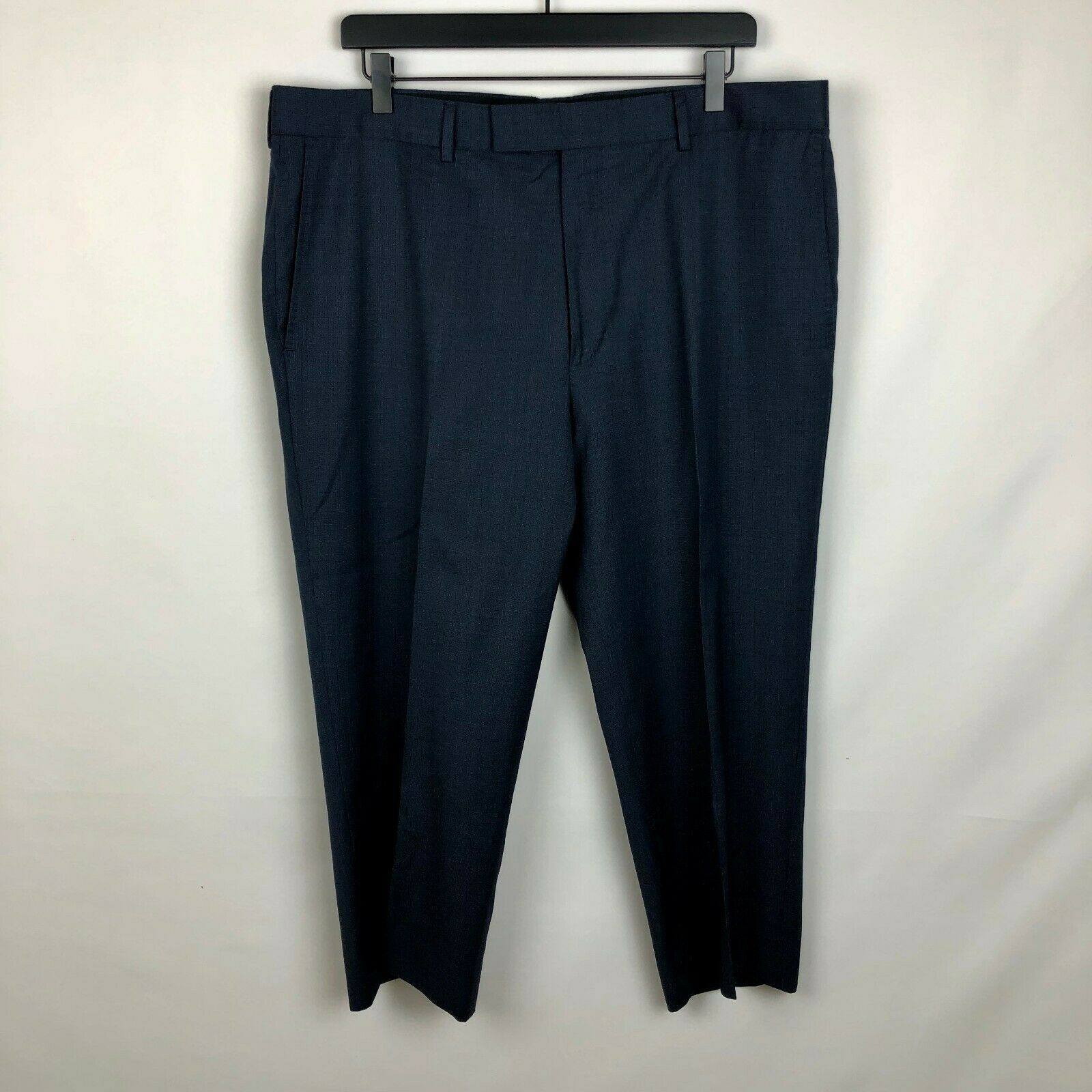 Hugo Boss Mens  bluee Navy Flat Front Virgin Wool Dress Pants 38R