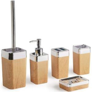 Details zu Bad Accessoires Badezimmer Zubehör Set Badgarnitur 6tlg.  Seifenspender WC Bürste