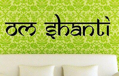 Om Shanti -Wall Vinyl Decal Yoga Studio Hindu Peace Master Bedroom Peace Art
