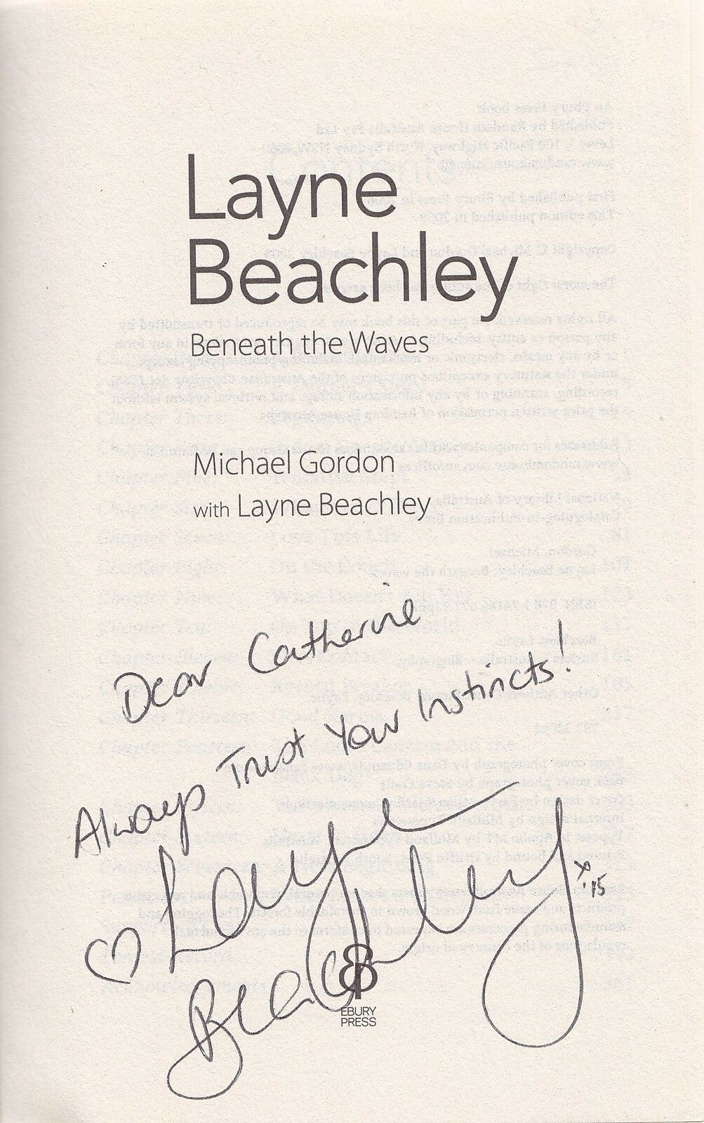 LAYNE BEACHLEY AUSTRALIAN SURFER BENEATH THE WAVES RARE SIGNED BOOK COA