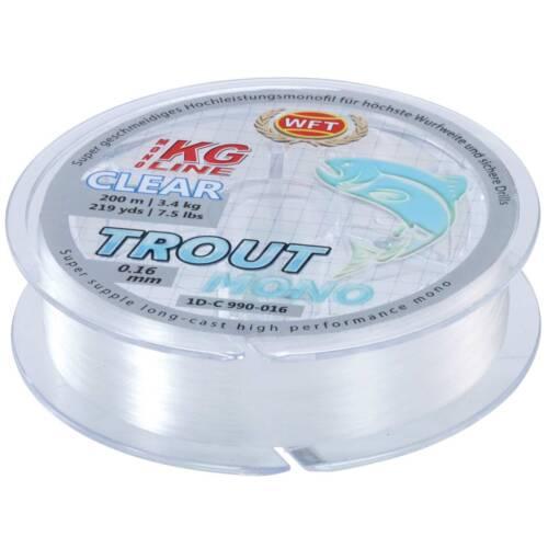 6,5kg Trout Mono clear 200m 0,22mm WFT monofile Forellenschnur 0,02EUR//m