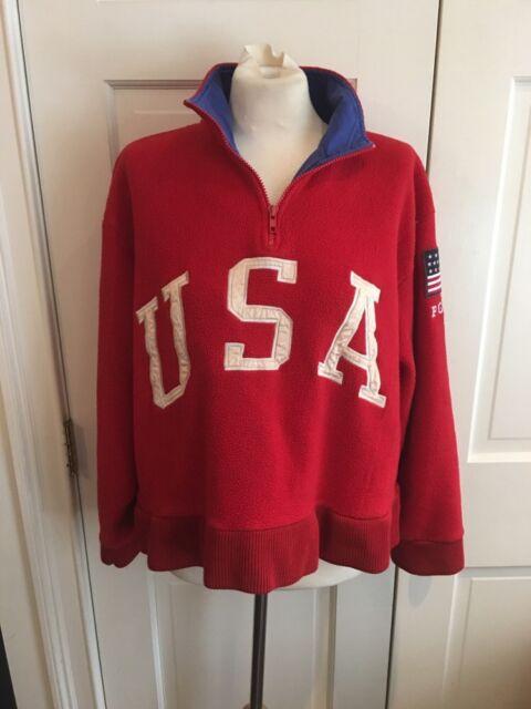 Vintage POLO SPORT Ralph Lauren USA Red Fleece Sweatshirt Jacket M L Flag Pwing