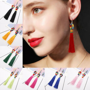 Fashion-Women-Bohemian-Long-Tassel-Fringe-Boho-Ear-Stud-Dangle-Earrings-Jewelry