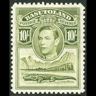 Sg 28 Basutoland 1938 10s Olive Green Fresh Lightly Hinged Mint. bh279 Complete Range Of Articles