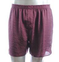 32$ Murano Men Sleepwear Silk Satin Shorts Pajama Pants Burgundy Boxer M, L, Xl