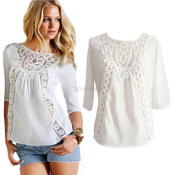 Women's White Hollow Crochet Chiffon Tops Shirt Loose Crew Neck Lace T-Shirt T37