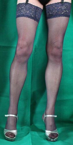 Fabulous Navy 15 Denier Luxury Lace Top Medium Satin Sheen Stockings