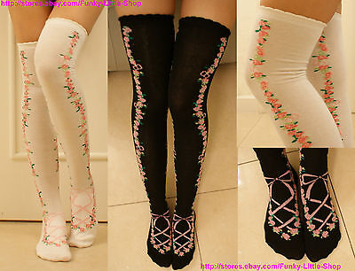 Flower corset print sweet lolita socks thigh highs stockings gothic cosplay emo