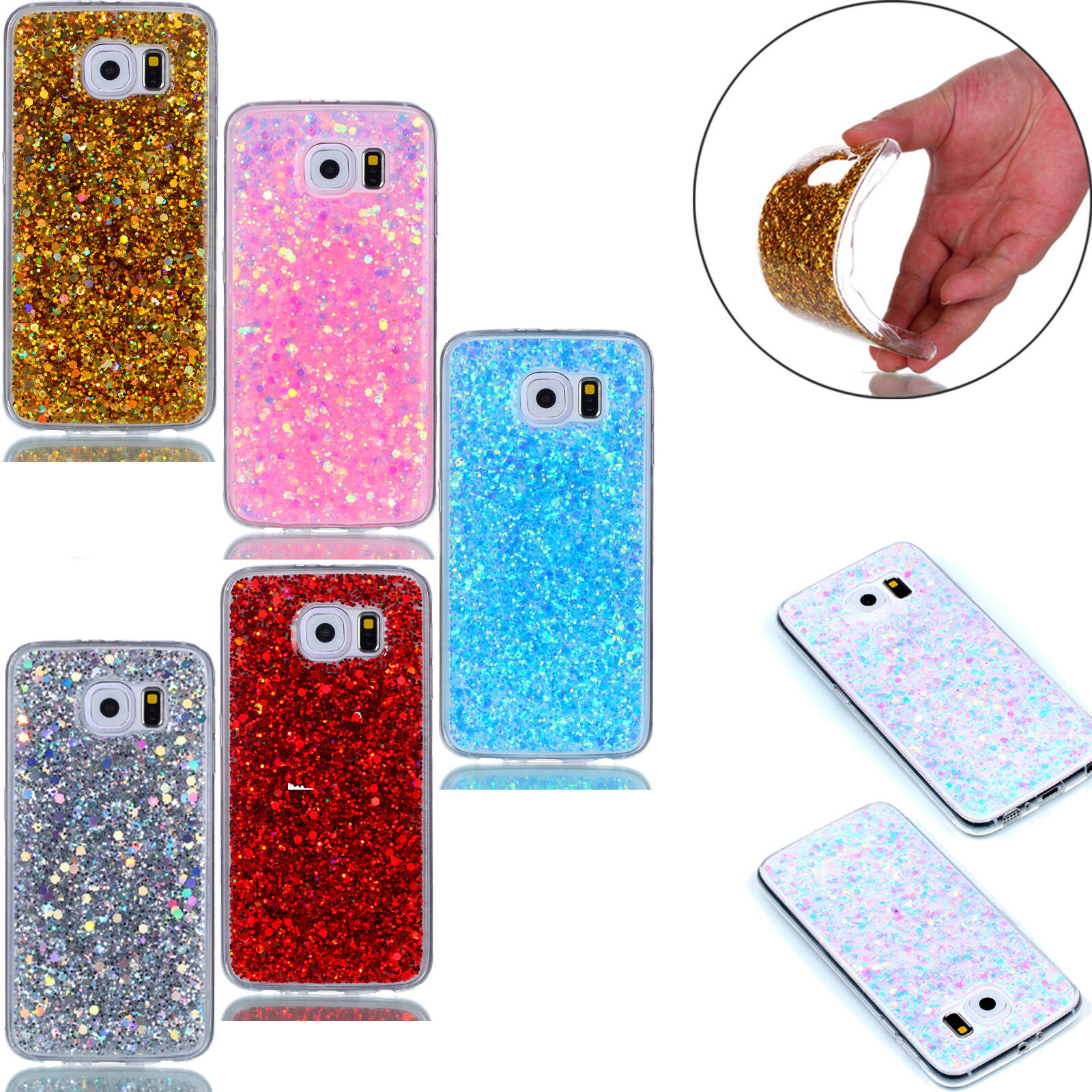 finest selection fcf5d bbf8a Girls Bling Slim Soft TPU Phone Accessories Case Cover For Samsung S7  iphone X