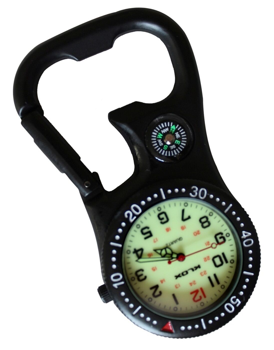 Black Clip-on Carabiner Fob Watch With Compass and Bottle Opener for ... dd9cf5a5b00e0