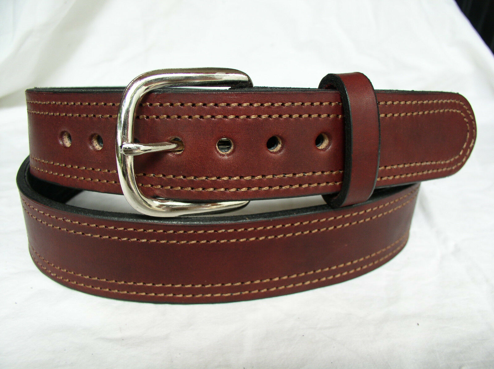 Belt Cordovan Plain 2 Ply Lined 1.5  Heavy Duty Double Stitch Leather Gun Carry
