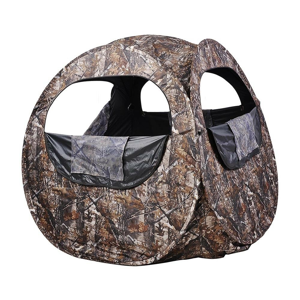 Pop Up Foldable Hunting Ground Blind Portable Stable Camouflage Carry Bag Camo