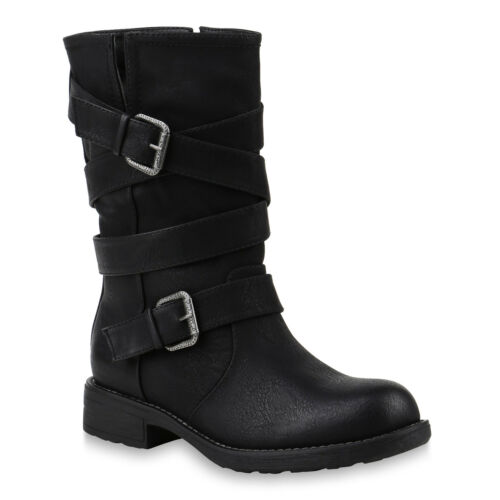 Damen Stiefel Schuhe Bikerstiefel Schnallen Profilsohle 818080 Top