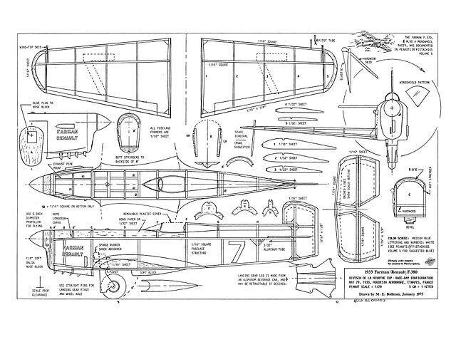 Farman Farman Farman Renault F.380 Full Size Balsa Model Airplane Kit Printed Plans 13in Span 76ca58