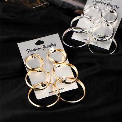 Hoops Bling Big Circle Large 3 Pairs Earrings Hip-Hop Gold //Silver Ladies Hoop