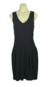 WEEKEND-by-MAX-MARA-Black-Jersey-Dress-Pleated-Skirt-Pockets-Sleeveless-Size-S