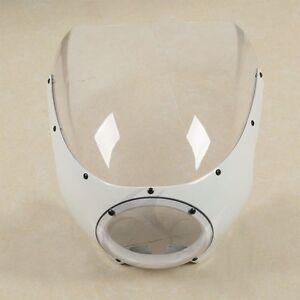White Cafe Racer Headlight Fairing Windscreen For Harley Sportster XL 883 Dyna