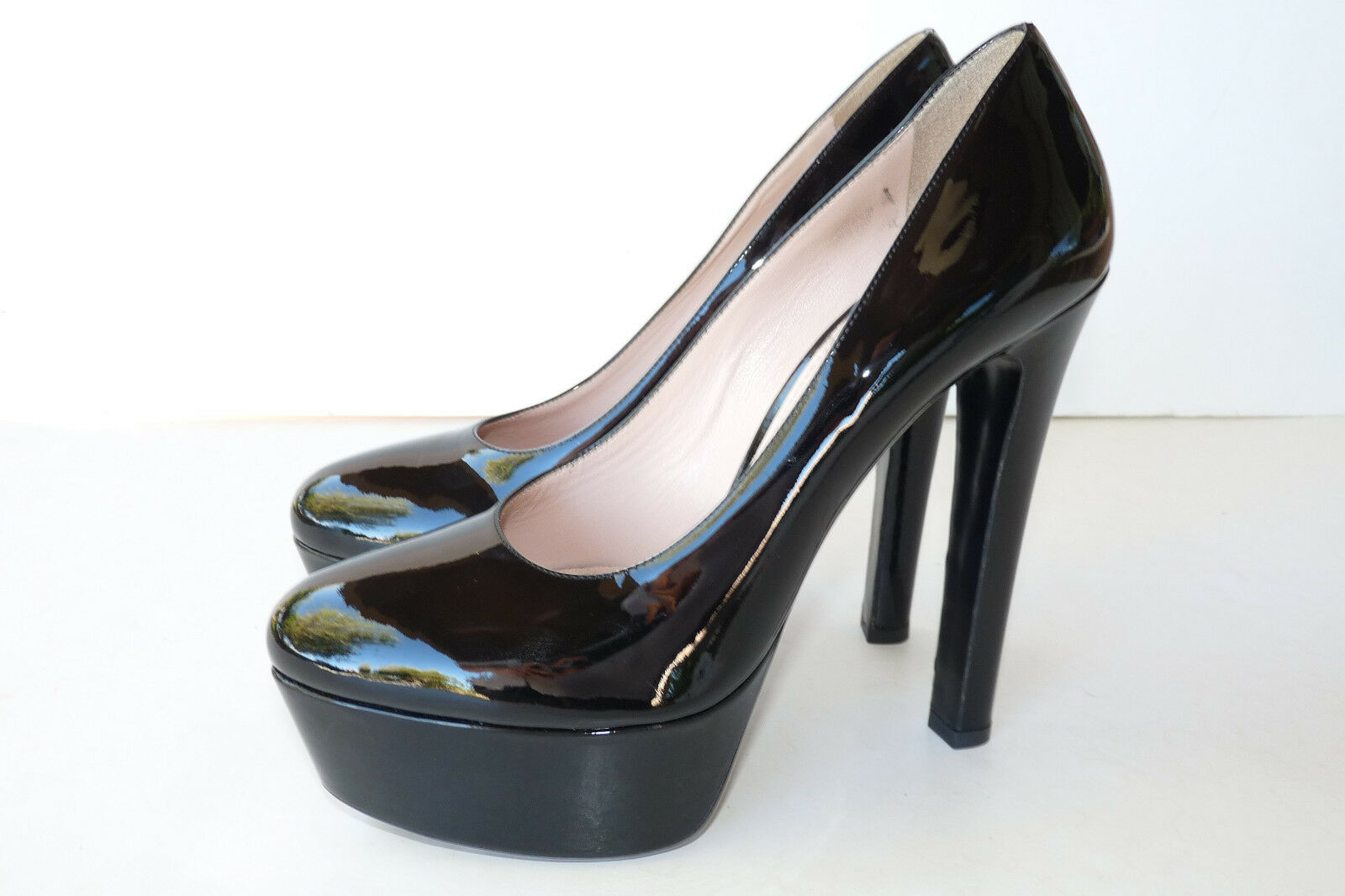 Authentic Miu Miu Black Patent Leather Platform Classic Pump Heel shoes Sz 9 39