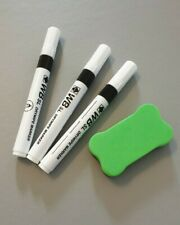 Childrens Stationery 3 Kids Whiteboard Pens And Eraser Wipe Pens And Rubber