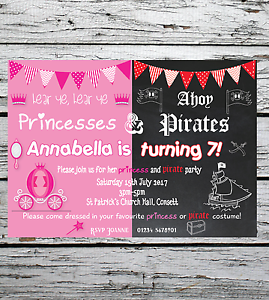 X10 personalised birthday party invitations princess and pirate image is loading x10 personalised birthday party invitations princess and pirate filmwisefo