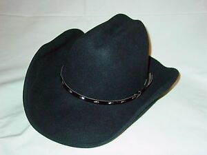 Mens Womens Rodeo King Black Felt Cowboy Western Hat 6 3 4 6 7 8 ... 75adc804fe9c