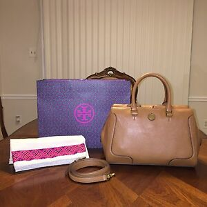 Nwt Tory Burch Frances Soft Satchel In Bark With Tory Gift