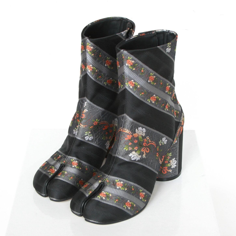 MAISON MARTIN MARGIELA split toe floral brocade jacquard tabi boots 39.5 9.5 NEW