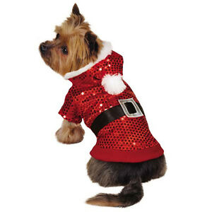 Details about  Zack & Zoey Santa Claus Sequin Dog Hoodies Hoodie Pet Christmas Xmas Red Outfit