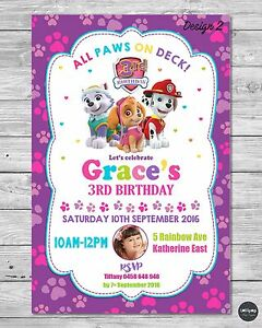Paw Patrol Girl Invitation Invite Birthday Party Card Personalised