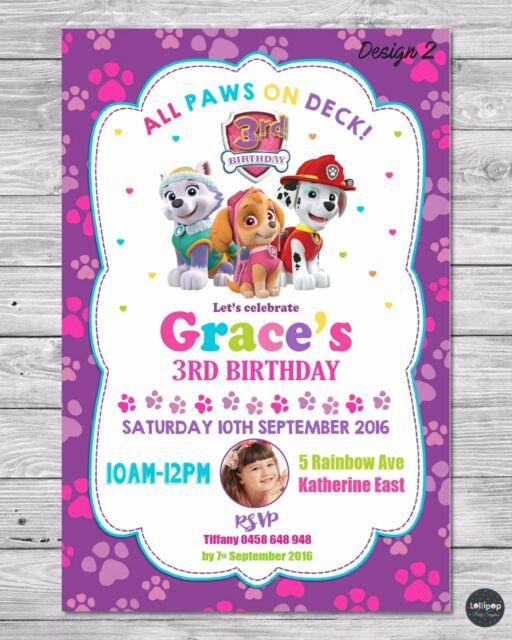 PAW PATROL GIRL INVITATION INVITE BIRTHDAY PARTY CARD PERSONALISED PINK SKYE