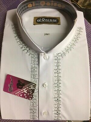 Aspirante Shalwar Kameez Morbida Da Uomo Al-qaiser Luce Embroiderey Bianco, Taglie Xl, L, M, S, Xs-