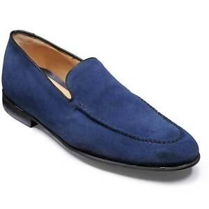 Chaussures habillées mocassins en daim bleu véritable pour hommes faits à la mai