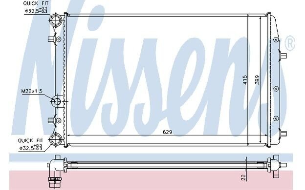 NISSENS Radiador, refrigeración del motor VOLKSWAGEN POLO SEAT IBIZA 652711
