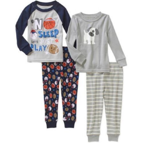 New Boys Toddler Long Sleeve Cotton Pajamas Fitted Nightwear 2-pack 12 M 5T
