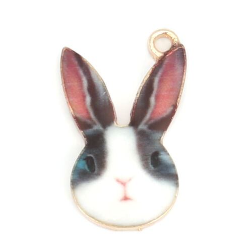 5 Enamel bunny rabbits charm pendant craft Gold plated choice of colours 19 mm