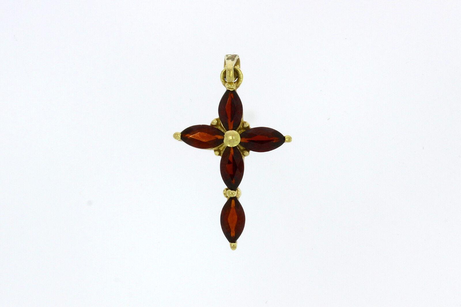 7200-333er yellowgoldanhänger Kreuz mit Granate Maße  3x1,5 cm Gewicht 1 Gramm