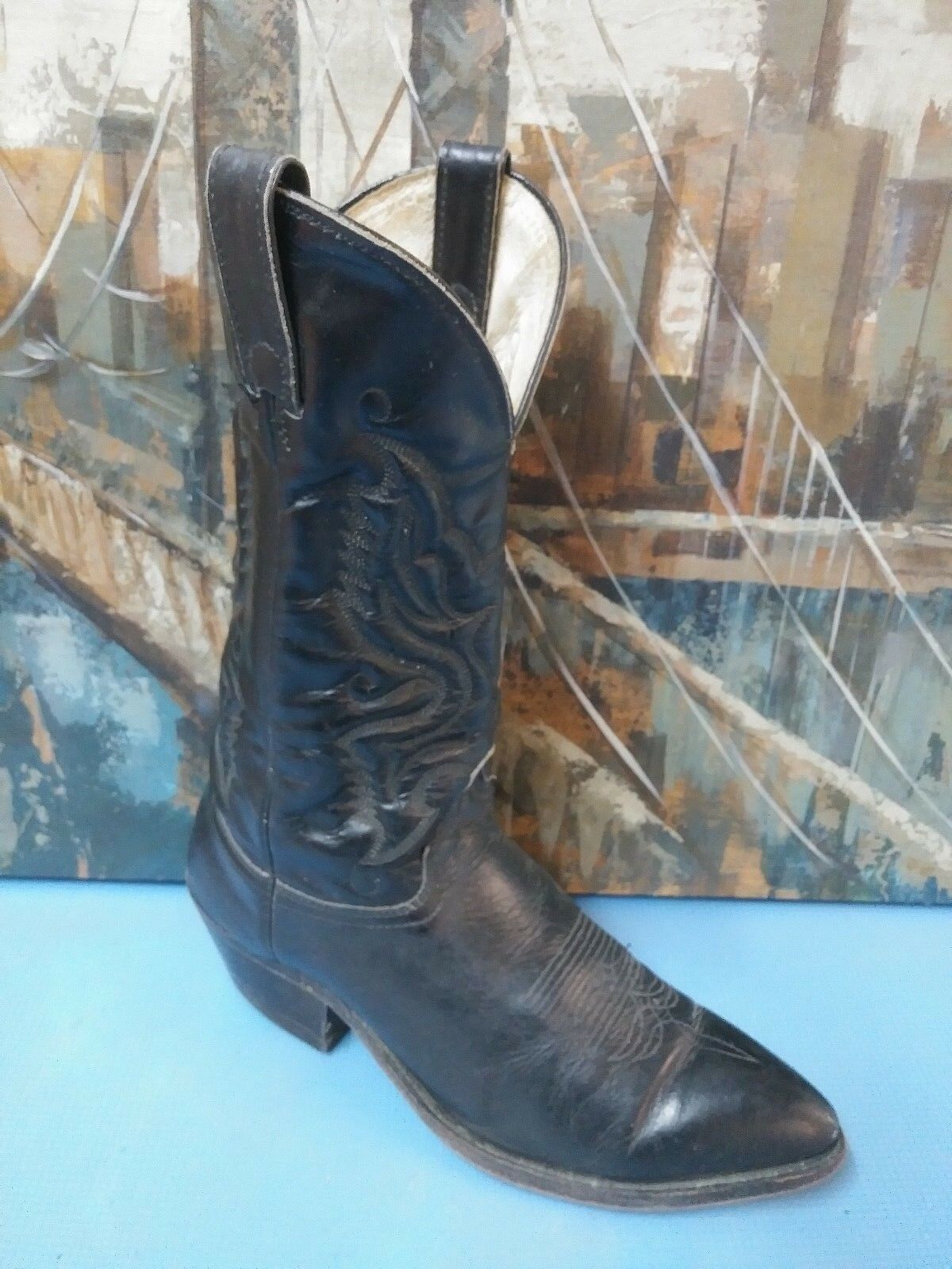schwarz Leather COWBOY Stiefel mens 10 D Vtg western