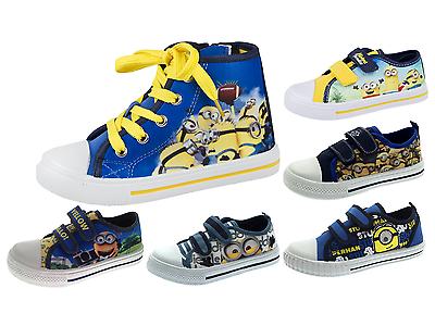 Boys Minions Yellow Blue Plimsolls Pumps Skate Trainers Kids Canvas Shoes Size