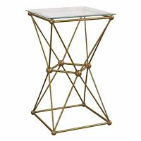 Antique Glass Side End Table Furniture Vintage Coffee Table Gold Metal Base