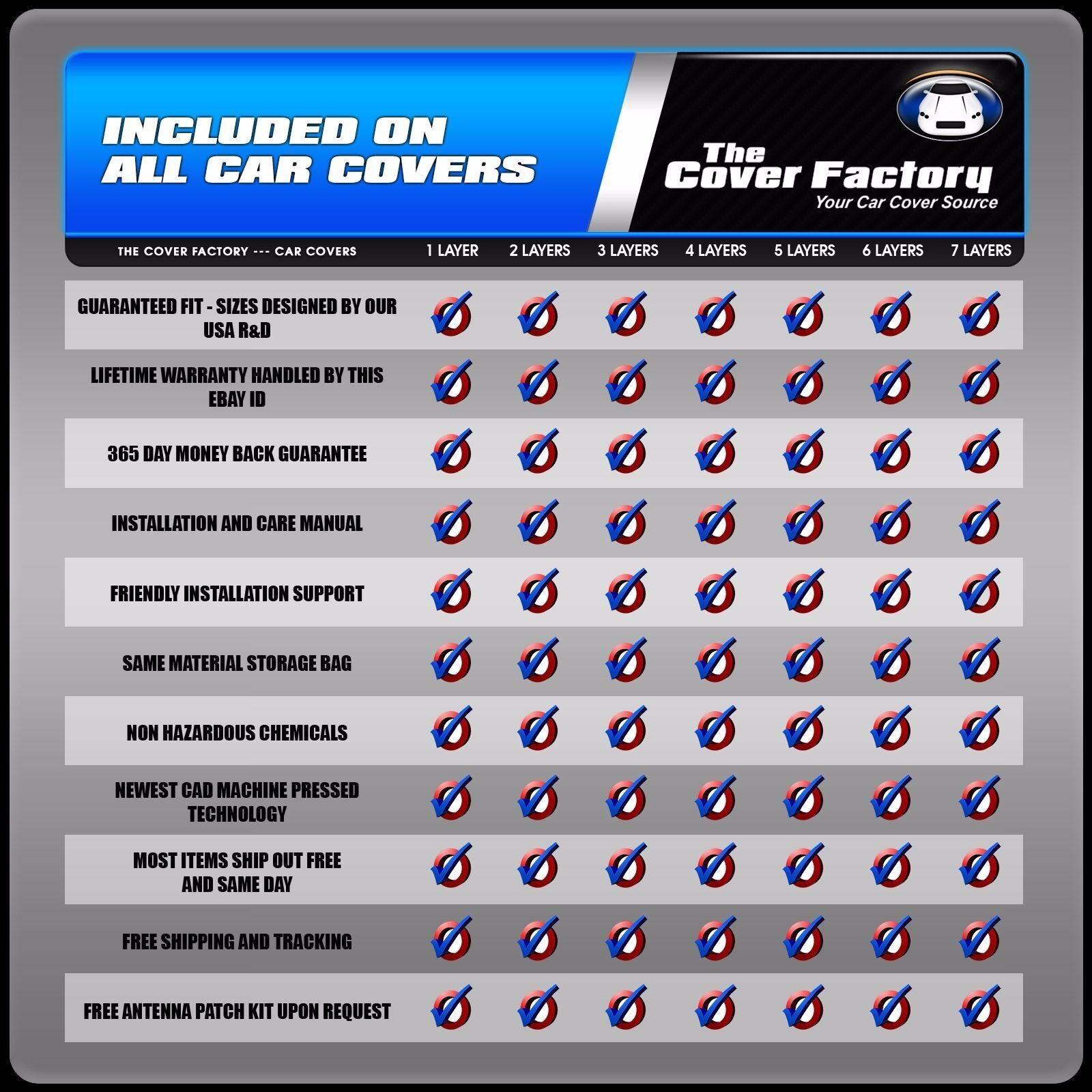 6 Layer Car Cover Indoor Outdoor Waterproof Breathable Layers Fleece Lining 6651