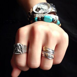 Couple-Native-Pawn-Indian-Jewelry-Navajo-Signed-Feather-Open-Band-Ring-Exquisite