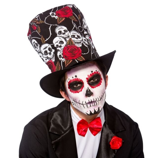 Day Of The Dead Top Hat Sugar Skull Roses Dia De Los Muertos Fancy Dress Topper For Sale Ebay