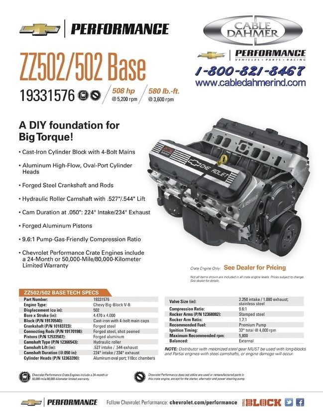 GM Performance Zz502 502hp Partially Assembled Engine